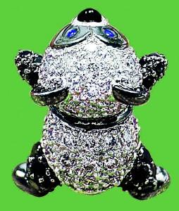 K18WG ダイヤモンド パンダ ブローチ