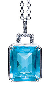 K18WG ブルートパーズ ダイヤモンド入 ペンダント
