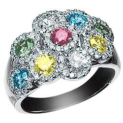 K18WG カラーダイヤモンド リング