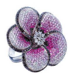 K18WG ダイヤモンド ピンクサファイア リング